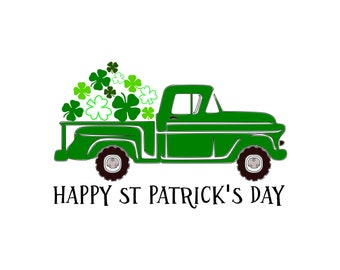 St. Patrick's Day, St. Patty's Day, Truck, Shamrock, Four leaf clover, Svg, Dxf, Png, Svg files for, Silhouette, Cricut, Cut files