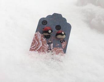 Pokeball Stud Earrings, Miniature Pokemon Jewelry