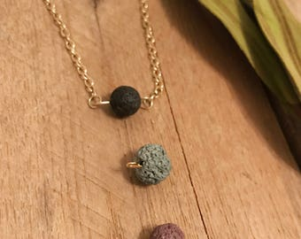 Lava Bead Essential Oil Diffuser Necklace on Gold-Plated Chain