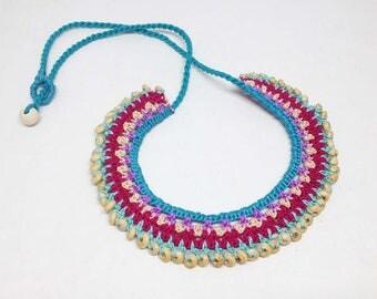 1 Crochet Necklace- Jewellery, necklace, handmade necklace, crochet necklace, gift for women, accessories for girls -JEW-15
