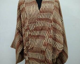 Japanese haori kimono silk brown kimono jacket /kimono cardigan/vintage kimono robe/#021
