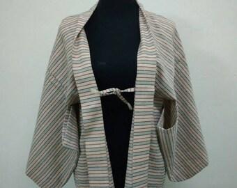 Japanese haori kimono green striped kimono jacket /kimono cardigan/vintage kimono robe/#060