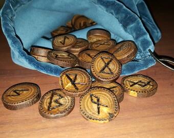 Handmade Wooden Elder Futhark Rune Set of 24