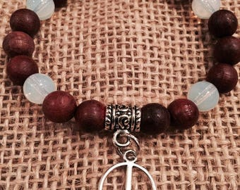 Peace, peace sign, rosewood, moonstone,  healing, bracelet, wishes4nature