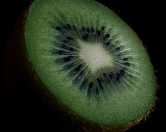 Acrylic, glass, print, photography, wall art, home décor, furnishing, framed, photo, picture, HD, Kiwi, Fruit, Food, Black, background,