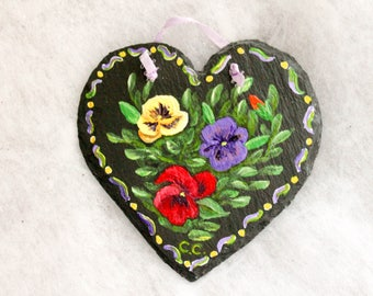 Hand Painted Bright Pansies on Heart Shaped Slate - Maine Made Original Hanging Wall Art Summer and Spring Theme - Red Yellow Purple