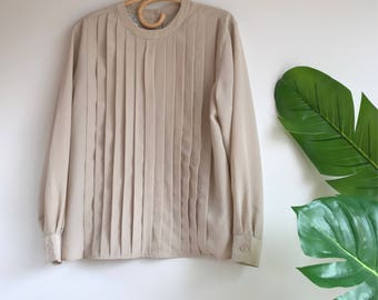 Taupe Silky Pleated Blouse Button Back Size 8