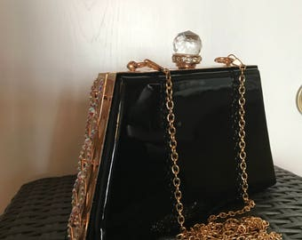 Black Patent & Crystal Ball Clasp Clutch