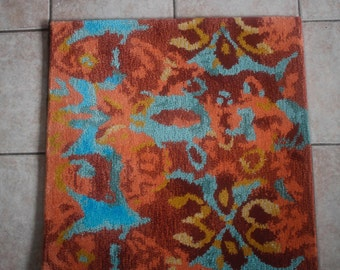 Unique Madrid inspired Bold Beautiful Burnt Orange Deep Red 100% Wool Rug Sample/Accent Rug 2x2
