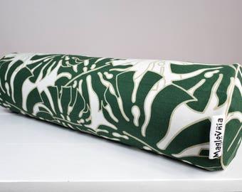 Buckwheat hull bolster pillow, yoga bolster, roll pillow, decorative bolster cushion, buckwheat pillow, monstera leaves pillow 18'' x 5''