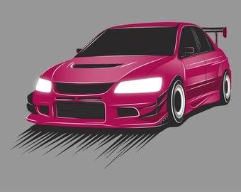 JDM Mitsubishi Lancer Evolution Poster / Vector Art