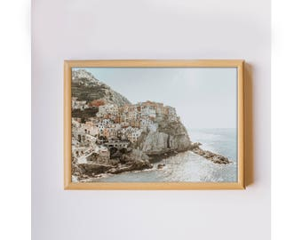 Travel photography Cinque Terre Italy ocean seaside colorful houses photo home decor photo art print downloadable printable wall art