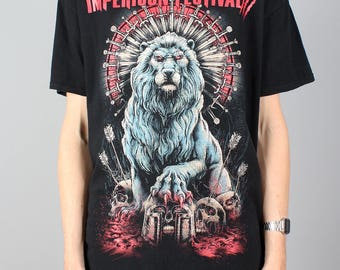 Impericon Festival shirt - vintage rock T-shirt - Lion tshirt with skulls - Heavy metal rock Tshirt - Festival t-shirt - Gildan - Size L