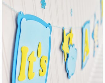 It is a boy, baby shower, baby boy, blue, yellow, baby, handmade, decorations, it's a boy, banners