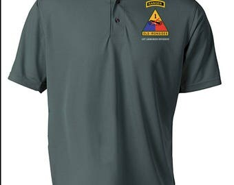 1st Armored Division w/ Ranger Tab Embroidered Moisture Wick Polo Shirt -3354