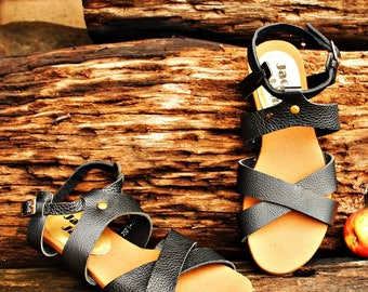 Black Cross Strap Gladiator Leather Sandals JSF1-1003 SABLE