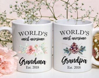 Gift for New Grandparents, Coffee Mugs for Grandma and Grandpa, World's Most Awesome Grandparents, Customized Mugs, Set of Two Mugs