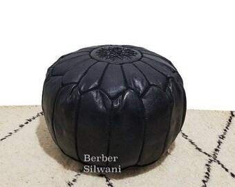 Black Moroccan Leather Pouf, Moroccan Pouf Ottoman Footstool Poof Poufs