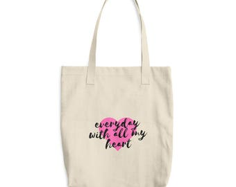 With All My Heart Cotton Tote Bag