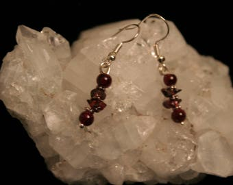 Silver and garnet beaded earrings