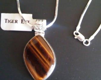 Tiger Eye .925 Sterling Silver Pendant