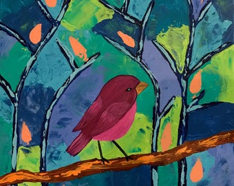 Happy Bird, Original Acrylic painting ,made with palette knife and brushes. Pink Bird, Tree. Whimsical painting. Canvas Art.
