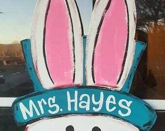 Burlap or wood Easter bunny door hanger personalized