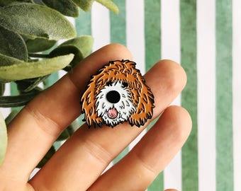 white brown parti doodle dog soft enamel lapel pin