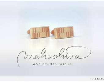 wooden cuff links wood flamed maple maple handmade unique exclusive limited jewelry - mahoshiva k 2017-108
