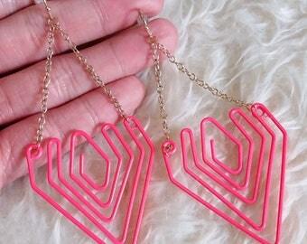 Pink Wire Dangle Earrings