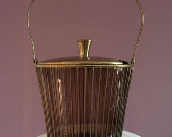 Large Vintage Ice Bucket,Brass and Glass Ice Bucket,Retro Ice Bucket , Mid Century  Ice Bucket,Wine Cooler,Art Deco Barware, Bar Cart Tools
