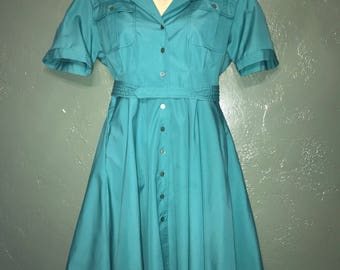 Vintage Early 80's Dress w Circle Skirt Large
