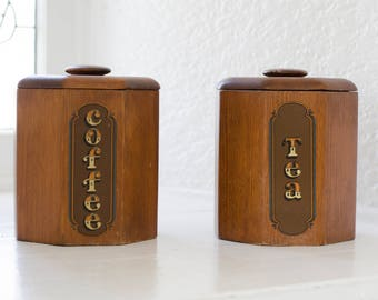 vintage wood canisters - coffee and tea