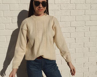 Chunky Vintage Buttercream Cable Knit Sweater