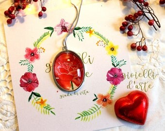 Medallion, Rose, Red rose, collection, oval pendant, pendant, handmade, jewel, gift woman, handmade, necklace, Valentine's Day