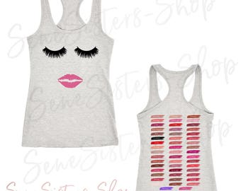 Lips and Lashes (pink) / Lipsense 50 Shades Lip Color Swatches (Front & Back) Ladies Tank Top Women 4 colors - PLUS Size XS-2XL Made in USA