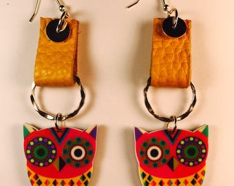 Owl Earrings, Drop earrings, Colorful earrings, Fun earrings, Leather earrings