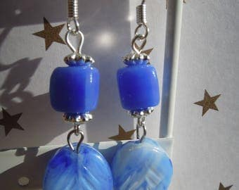 Leaf earrings, blue glass beads