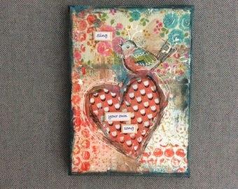 JessicArt Original Mixed Media Heart painting 13x18cm