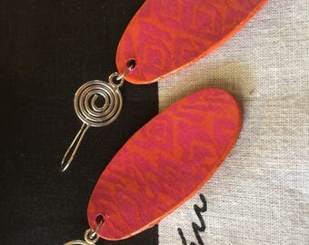 Upcycled Gudrun Sjoden Image Earrings - Japanese inspired Kyoto in bright pink and orange