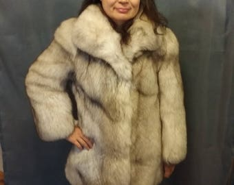 Genuine Silver Fox fur Coat - White Size S (10), EU 38 - Warm! Soft! FABULOUS !!!