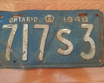 Antique 1948 Ontario Licence Plate 717 S3