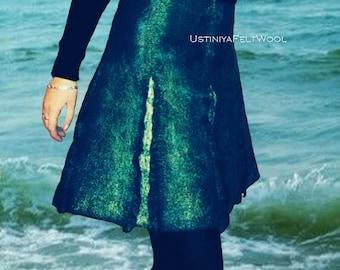 Skirt turquoise sea,Skirt in felted wool,Turquoise skirt