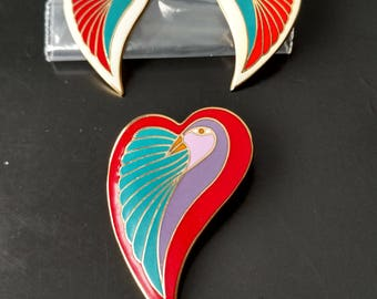 Laurel Burch White Dove Heart Cloisonné Earring Studs and Red Dove Heart Cloisonné Pin