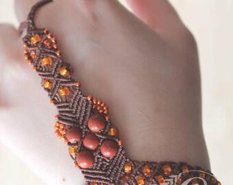 Macrame ring bracelet white brown sunset chocolate, boho, jewellery, gypsy, indie, beach, summer, brown, fiber, woven, design, woven, dancer