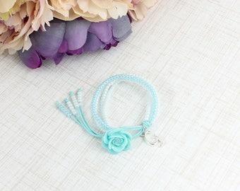 Blue Flower Bracelet,Flower Initial Bracelet,Personalized Flower Girl Bracelet,Kids Beaded Bracelet,Girls Bracelet,Flower Girl Gift