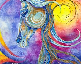 Horse Tree - Watercolor print