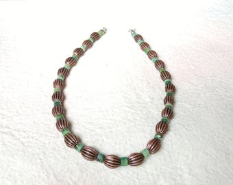 Copper and Green Heishi Bead Necklace- Copper Jewelry- Southwestern Jewelry- Boho Necklace- Ethnic Style- Vintage Hippie- Cowgirl Jewelry-