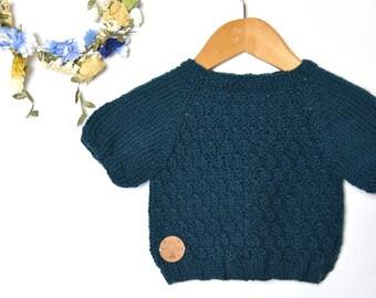 dark petrol merino wool sweater, superwash
