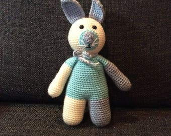 Bunny Rabbit Crocheted Stuffed Animal Toy for Baby Kids or Adults Amigurumi